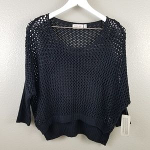 RD Style Black Open Knit Crop Sweater Small